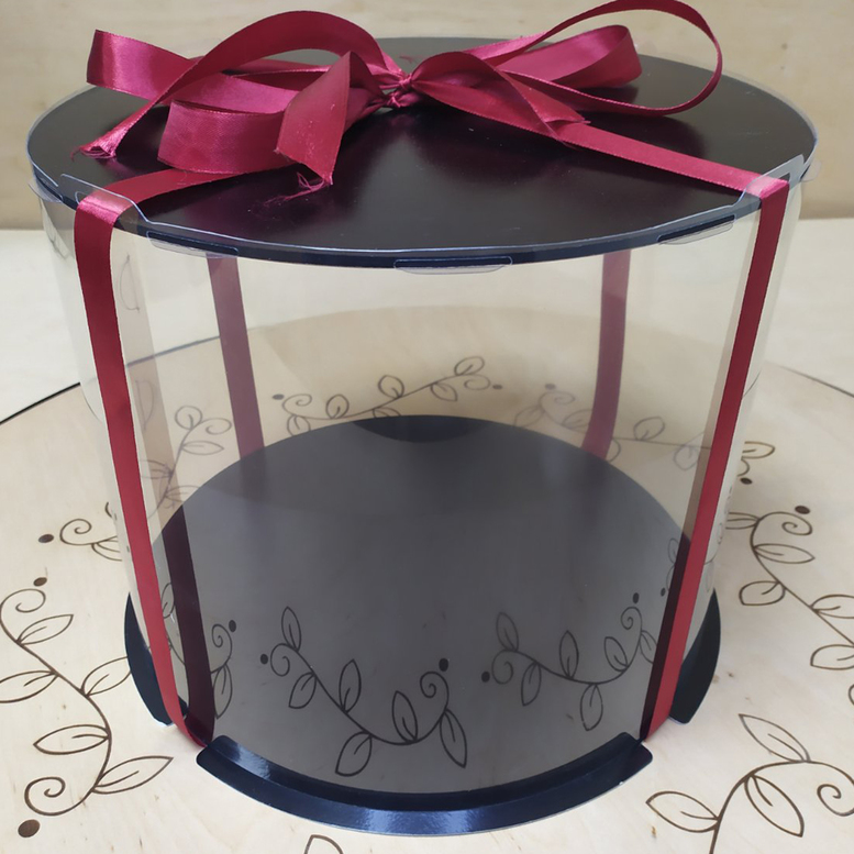 Коробка для торта 250х250х250 (тубус) черная/основание 10 мм (1 шт.)