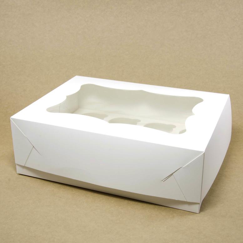Коробка для кексов 6 шт. 250х170х80 с окном, белая, мел/к.