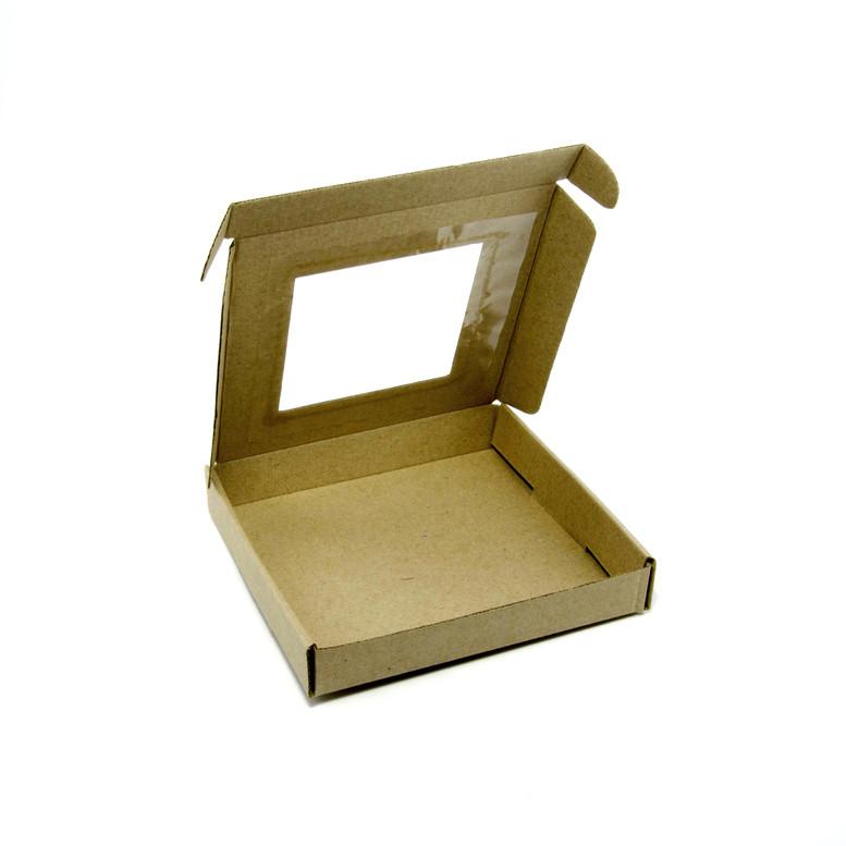 Коробка для пряников 200х200х30 крафт с окном,  м/г.