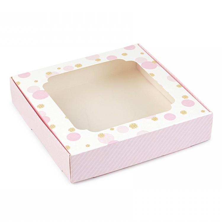 Коробка для пряників 150х150х30 з вікном Рожева зі смужками/горох