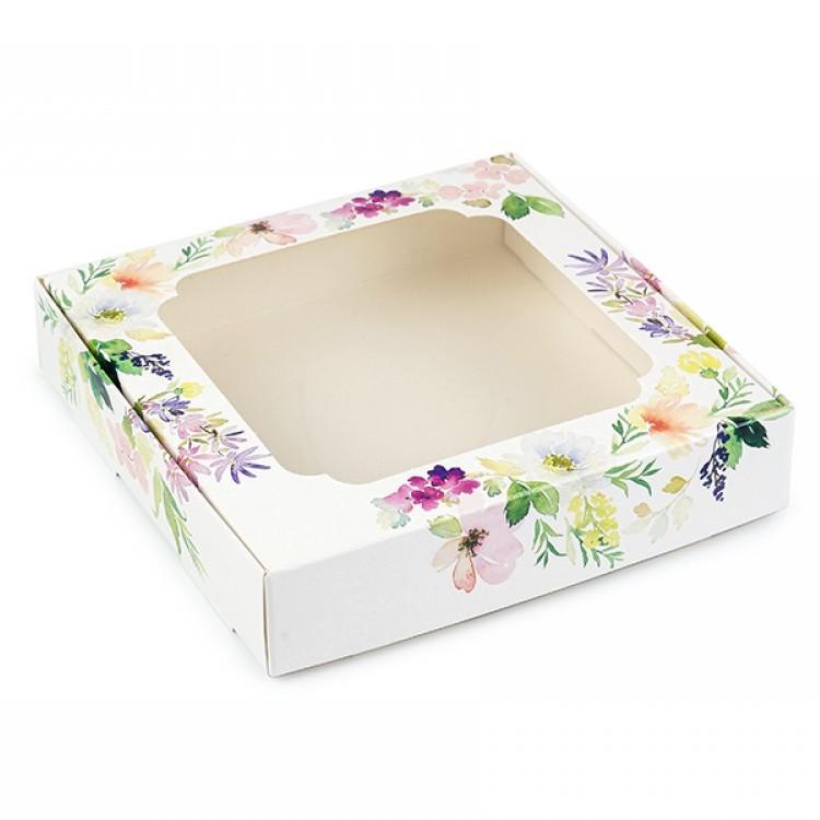 Коробка для пряників 150х150х30 з вікном Біла з ніжними квітами