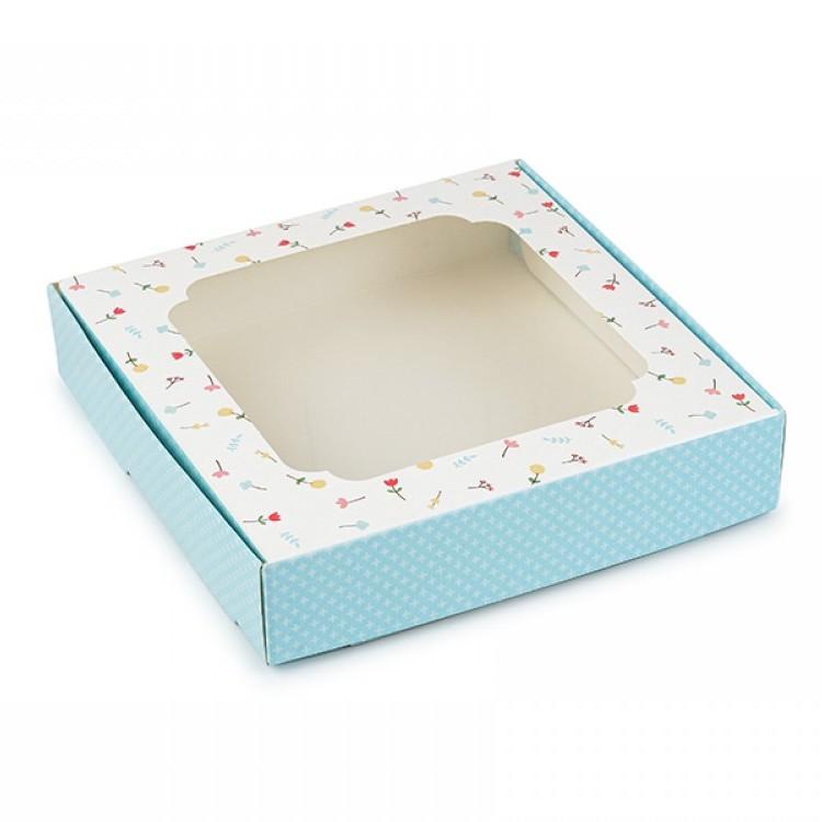 Коробка для пряників 150х150х30 з вікном Блакитна з квітами