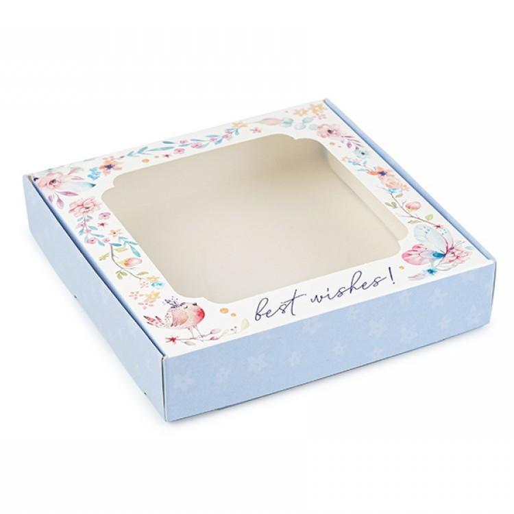 Коробка для пряників 150х150х30 з вікном Блакитна Best Wishes