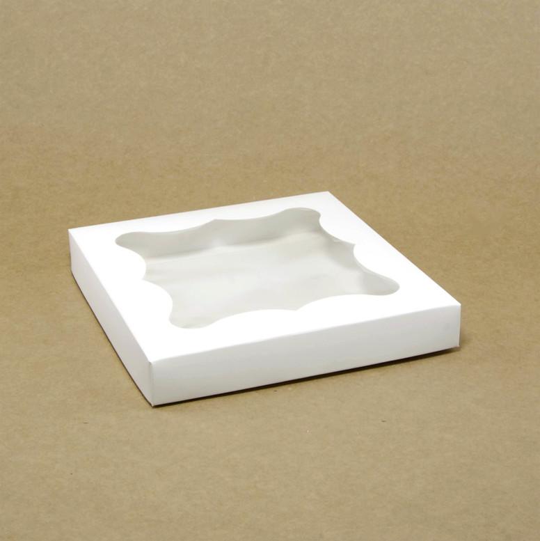 Коробка для пряников 200х200х30 белая с окном,  мел/к.