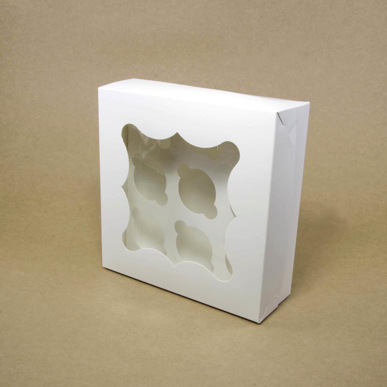 Коробка для кексов 9 шт. 260х260х90 с окном, белая, мел/к.