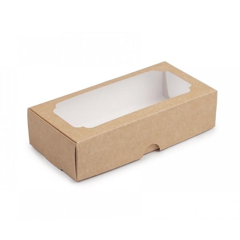 Коробка для макаронс, зефіра і десертів, Крафт, 200х100х50 мм