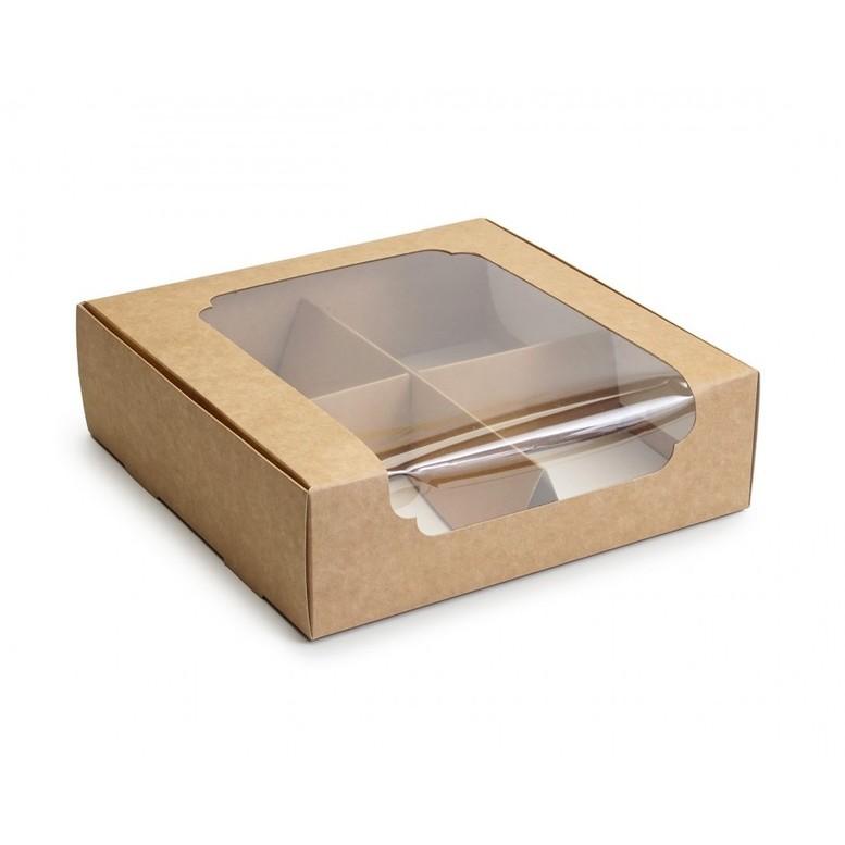 Коробка для зефира и десертов с окном и разделителем, КРАФТ, 200х200х60 мм, лам/к