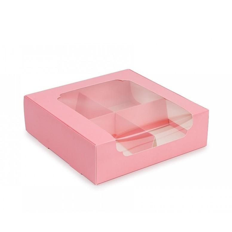 Коробка для зефира и десертов с окном и разделителем, РОЗОВАЯ, 200х200х60 мм, лам/к