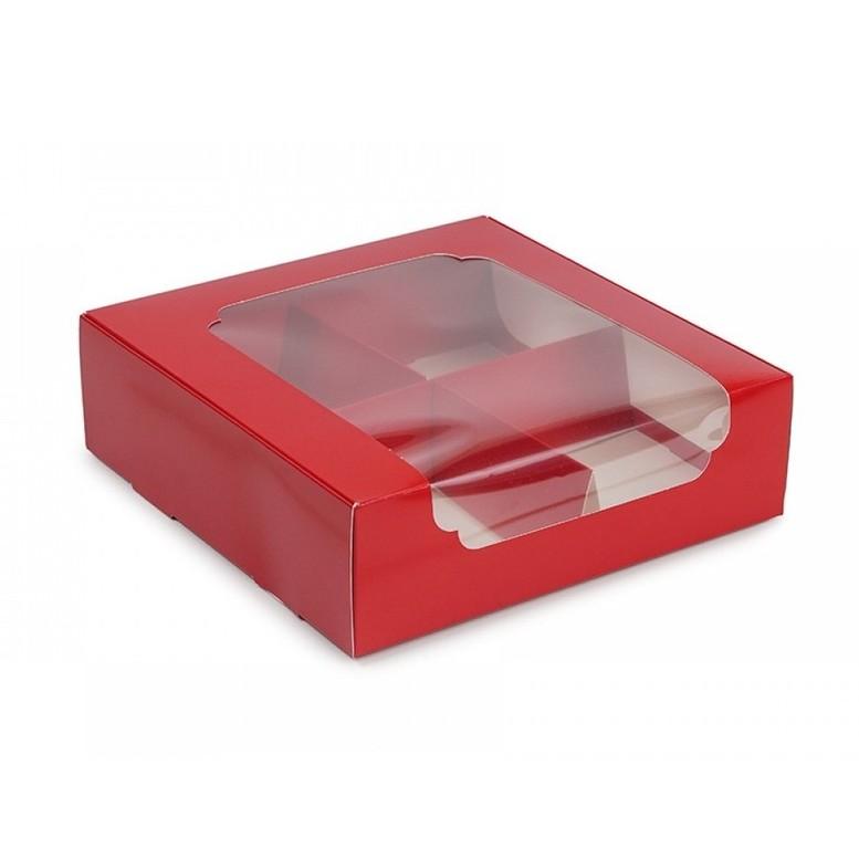 Коробка для зефира и десертов с окном и разделителем, КРАСНАЯ, 200х200х60 мм, лам/к