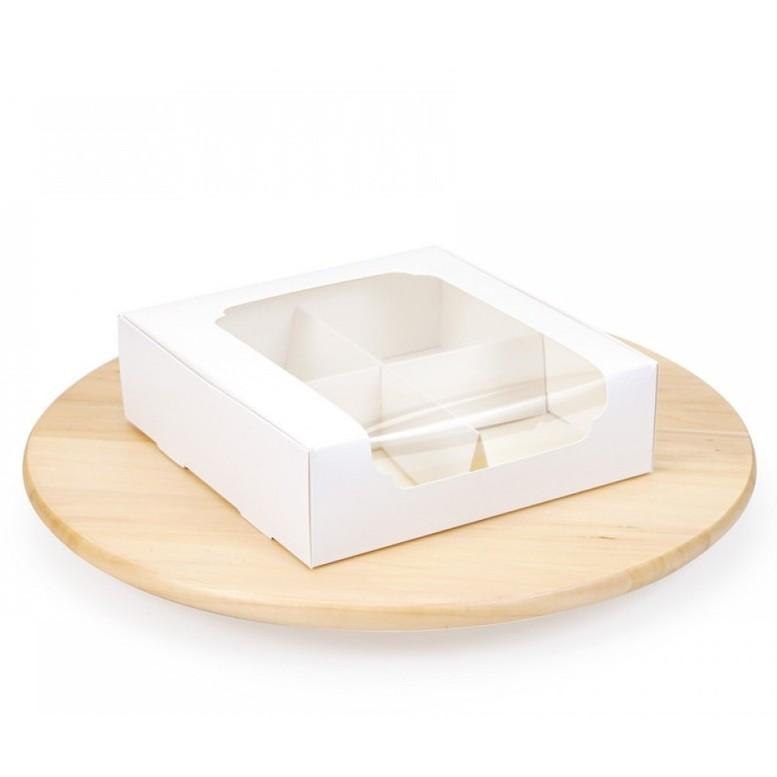 Коробка для зефира и десертов с окном и разделителем, БЕЛАЯ, 200х200х60 мм, лам/к