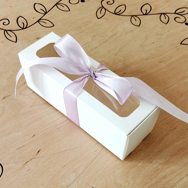 Коробка для макарунс с окном белая 170х55х55 мм, мел/к