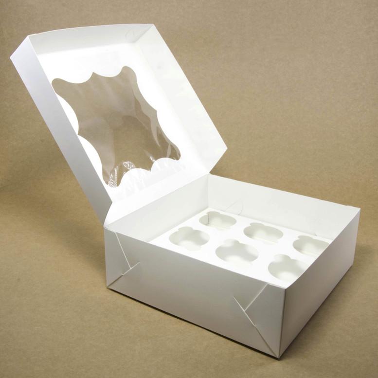 Коробка для кексов 12 шт. 330х255х110 с окном, белая, мел/к.