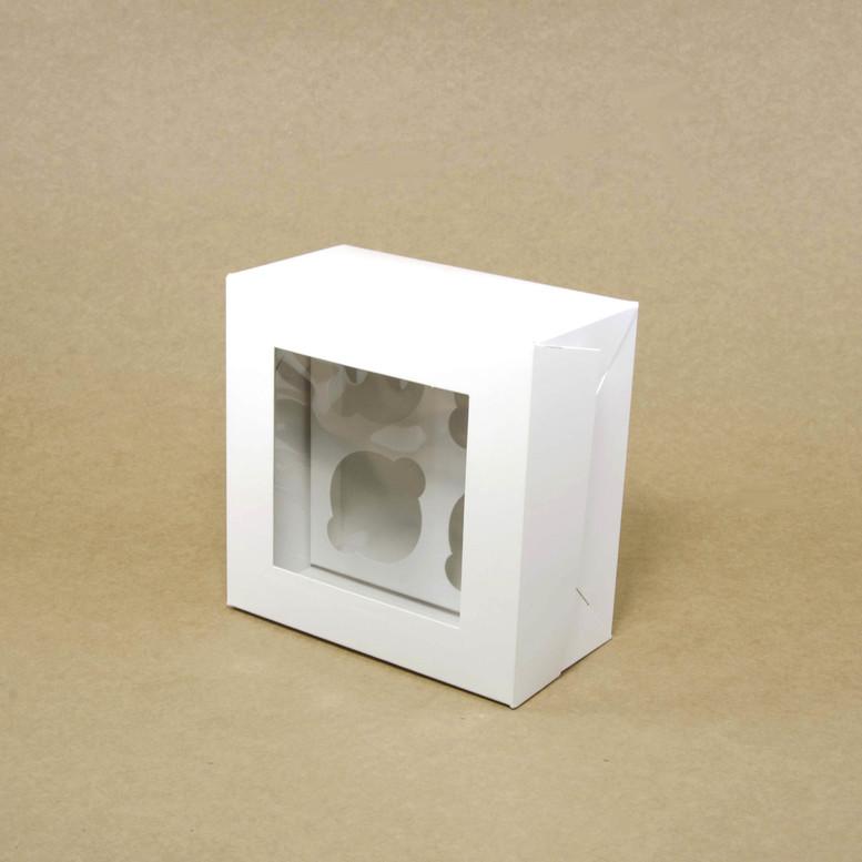 Коробка для кексов 4 шт. 170х170х90 с окном, белая, мел/к.