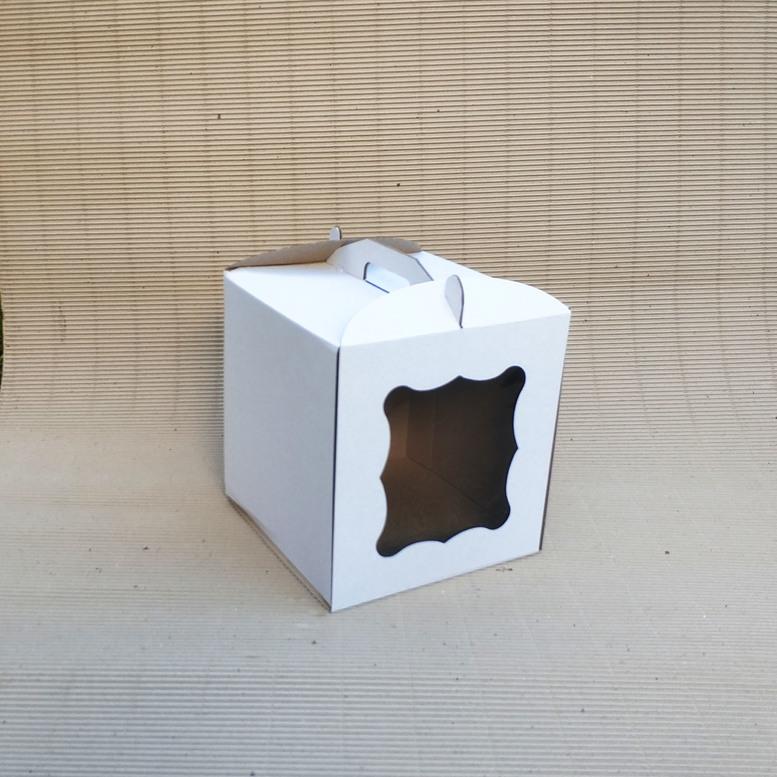 Коробка для торта 280х280х300 белая с окном, м/г.