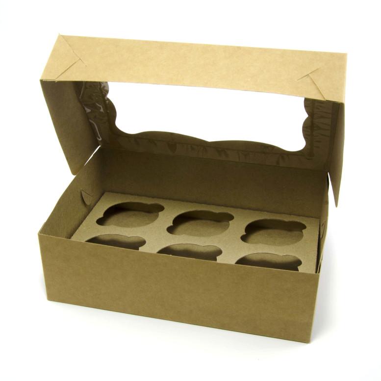 Коробка для кексов 6 шт. 250х170х80 с окном, крафт, мел/к.