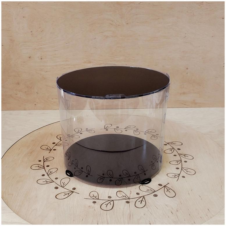 Коробка для торта 300х300х250 (тубус) черная (1 шт.)