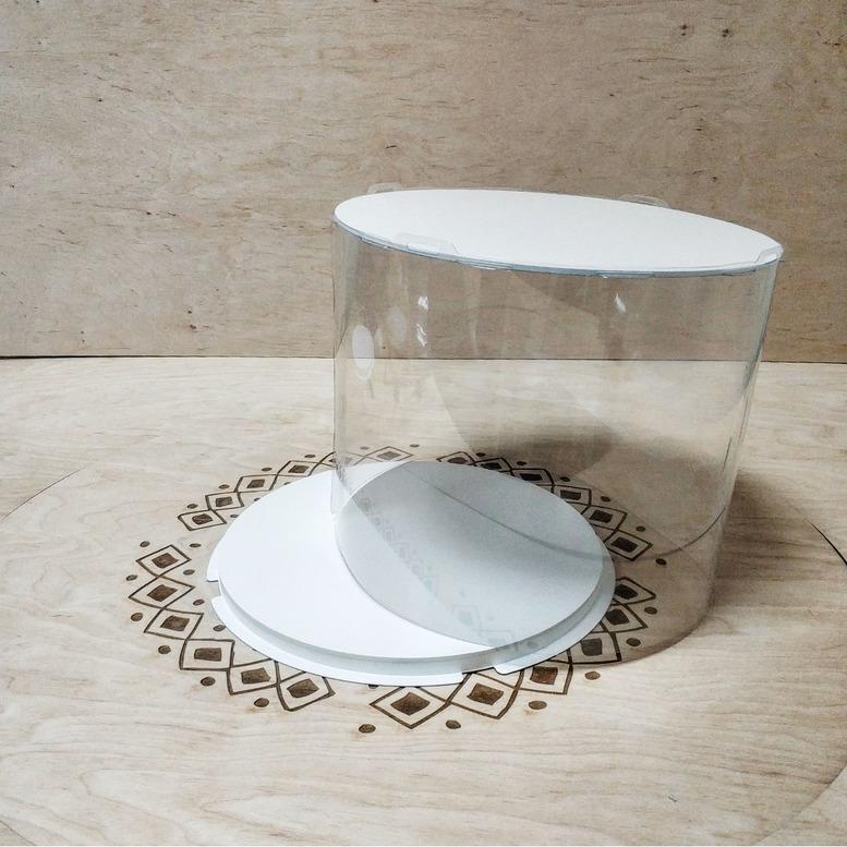 Коробка для торта 300х300х250 (тубус) белая/основание 10 мм (1 шт.)