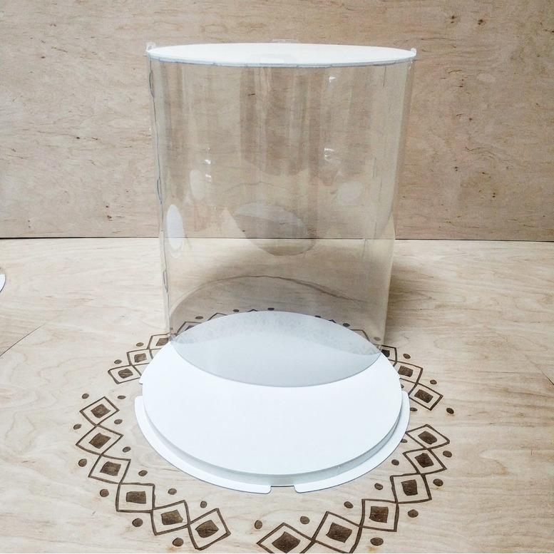 Коробка для торта 300х300х350 (тубус) белая/основание 10 мм (1 шт.)