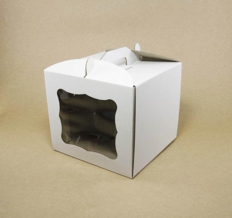 Коробка для торта 300х300х300 белая с окном, м/г.