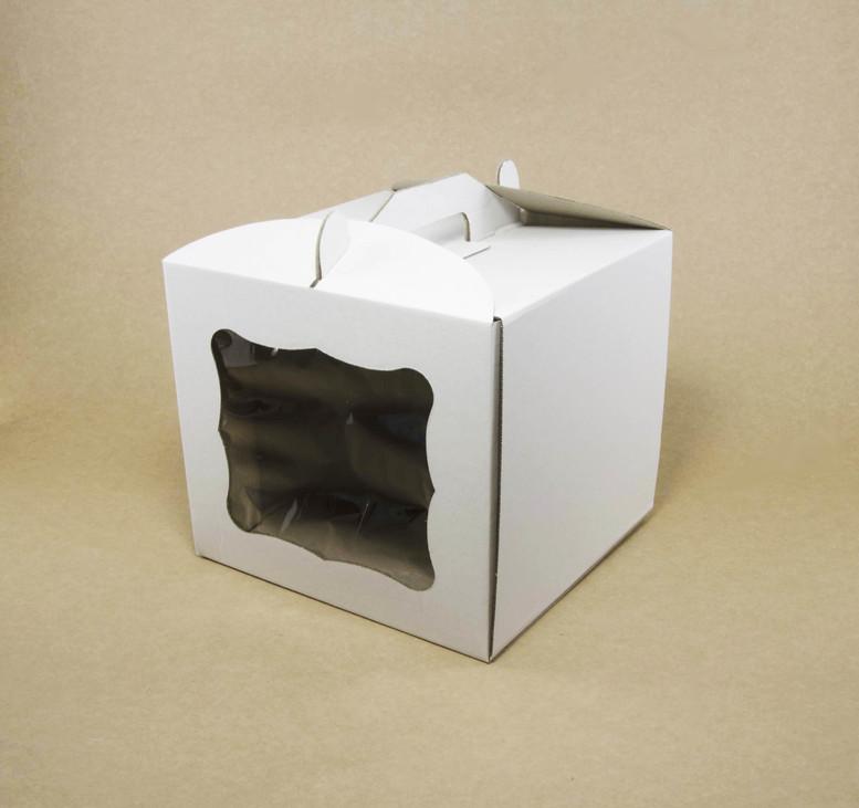 Коробка для торта 300х300х250 белая с окном, м/г.