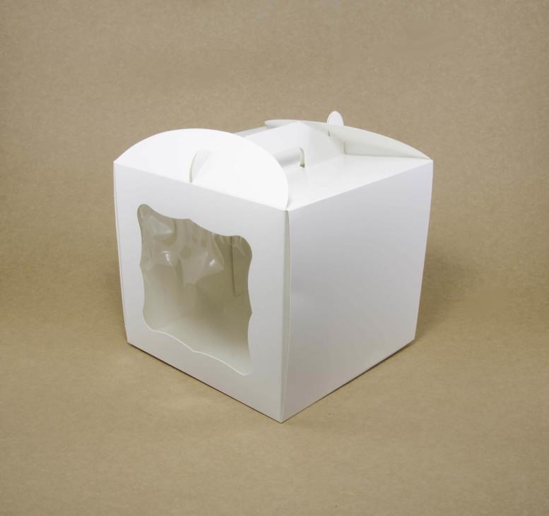 Коробка для торта 230х230х210 белаяс окном, мел-к