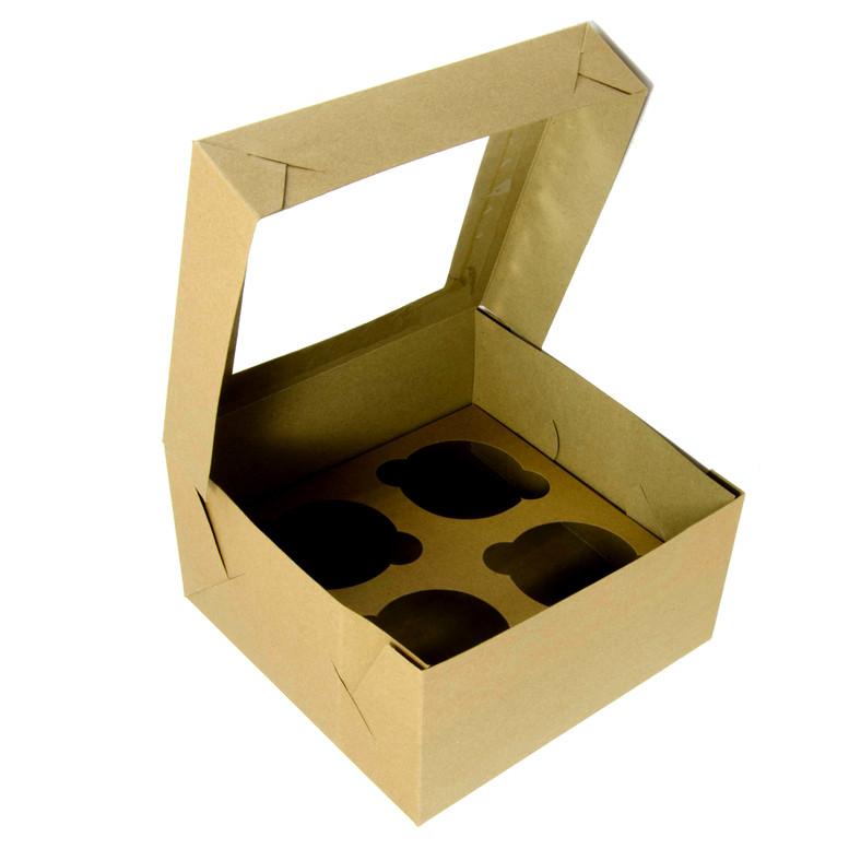Коробка для кексов 4 шт. 170х170х90 с окном, крафт,