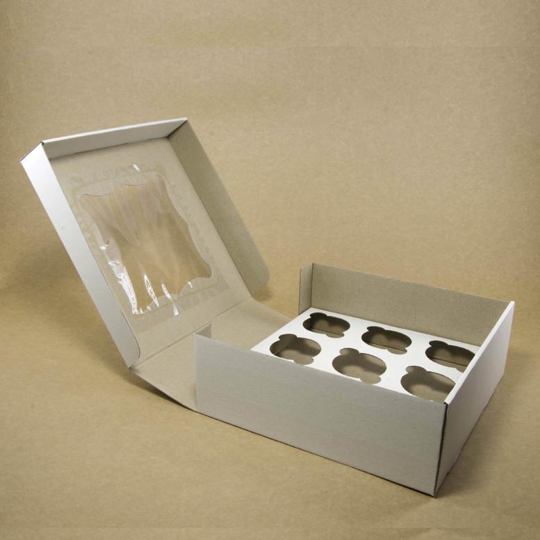 Коробка для кексов 9 шт. 260х260х90 с окном, белая, м/г.