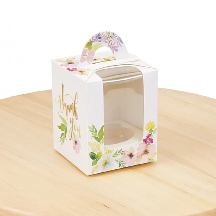 Коробка для 1 кекса Квіти з вікном, 82х82х100мм, лам/к