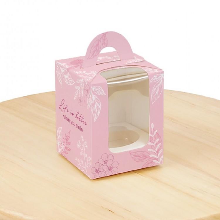Коробка для 1 кекса Рожева з вікном, 82х82х100мм, лам/к