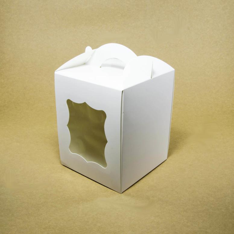 Коробка для паски 170х170х210 белая с окном, мел-к
