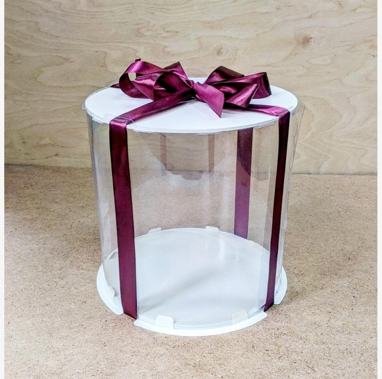 Коробка для торта 300х300х180 (тубус) белая/эконом