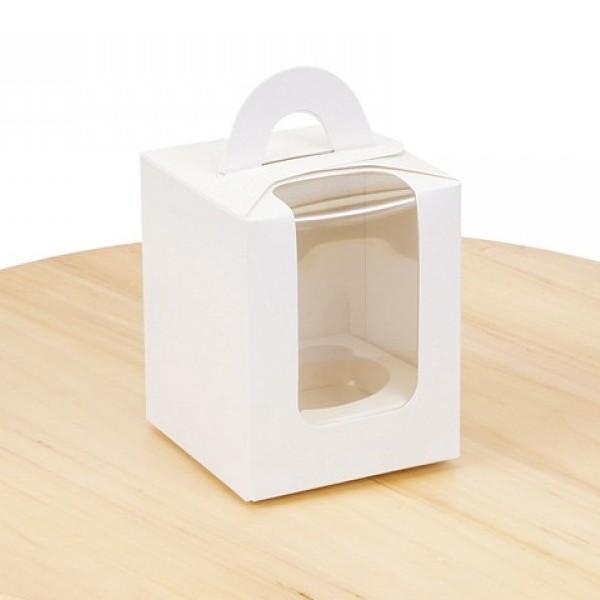 Коробка для 1 кекса Біла з вікном, 82х82х100мм, лам/к