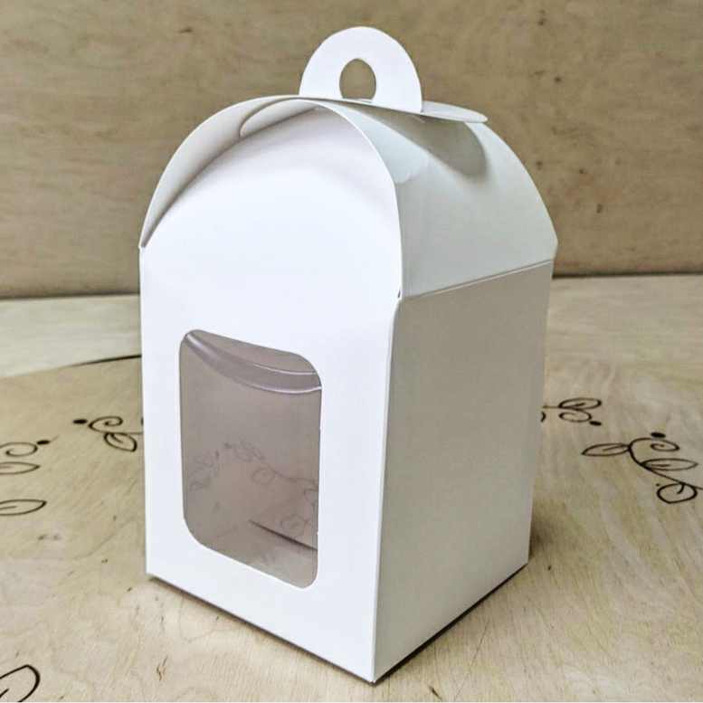 Коробка для паски 120х120х150 белая с окном (мел.к)