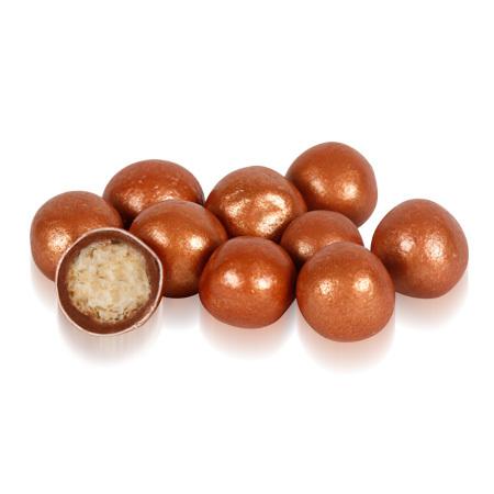 Бисквитные шарики в молочном шоколаде Бронзовые 1,5см Ovalette, 100г