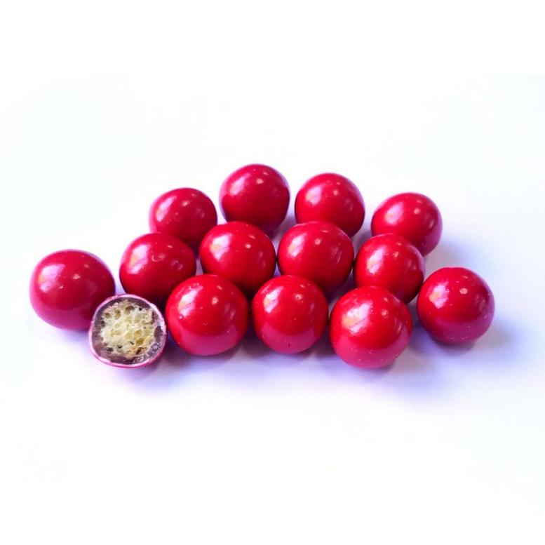 Бисквитные шарики в молочном шоколаде Красные 1,5см Ovalette, 100г