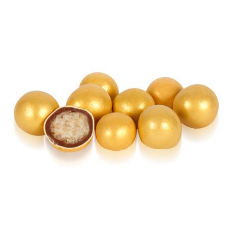 Бисквитные шарики в молочном шоколаде Золотые 1,5см Ovalette, 100г