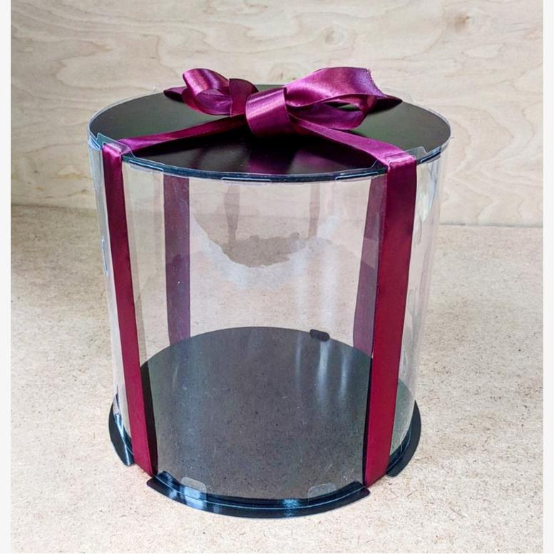 Коробка для торта 300х300х180 (тубус) черная/эконом