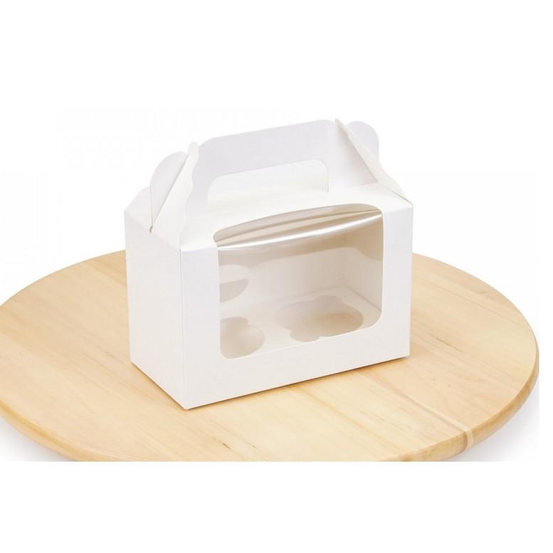 Коробка для 2 кексов 165х80х105 Белая, мел/к