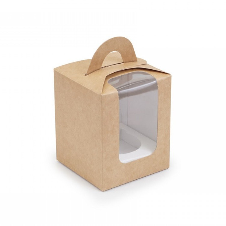 Коробка для 1 кекса Крафт з вікном, 82х82х100мм, лам/к