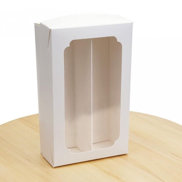 Коробка для макарунс двойная с окном и разделителем белая 200х120х60 мм, лам/к