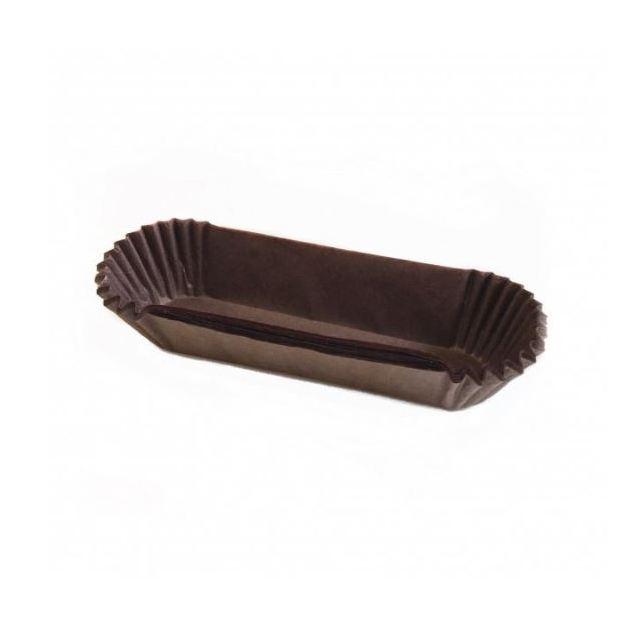 Паперова форма для тістечок та еклерів 130х30 мм, h 30 мм, коричнева, 10шт/уп