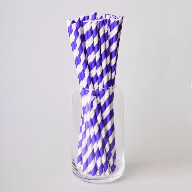 Паперовітрубочкидлякейк-попсів200мм Фіолетова смужка, 25 шт/уп