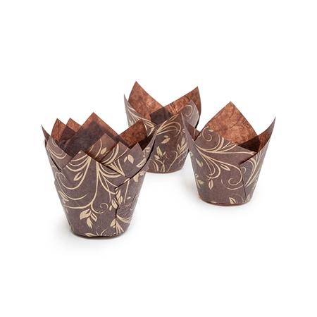 Паперова форма для кексів ТЮЛЬПАН коричнево-золота, 1шт