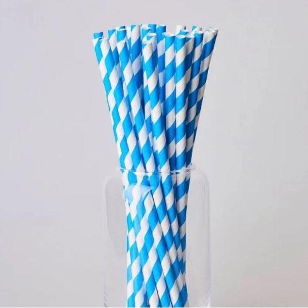 Паперовітрубочкидлякейк-попсів200мм Блакитна смужка, 25 шт/уп