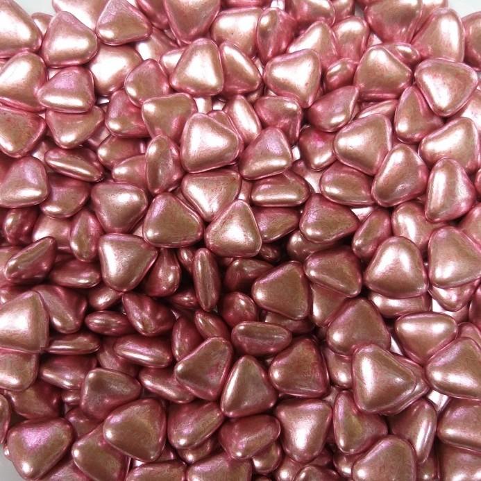 Сердечка шоколадні Рожеві металлік, 15 мм, Buratti, 50г