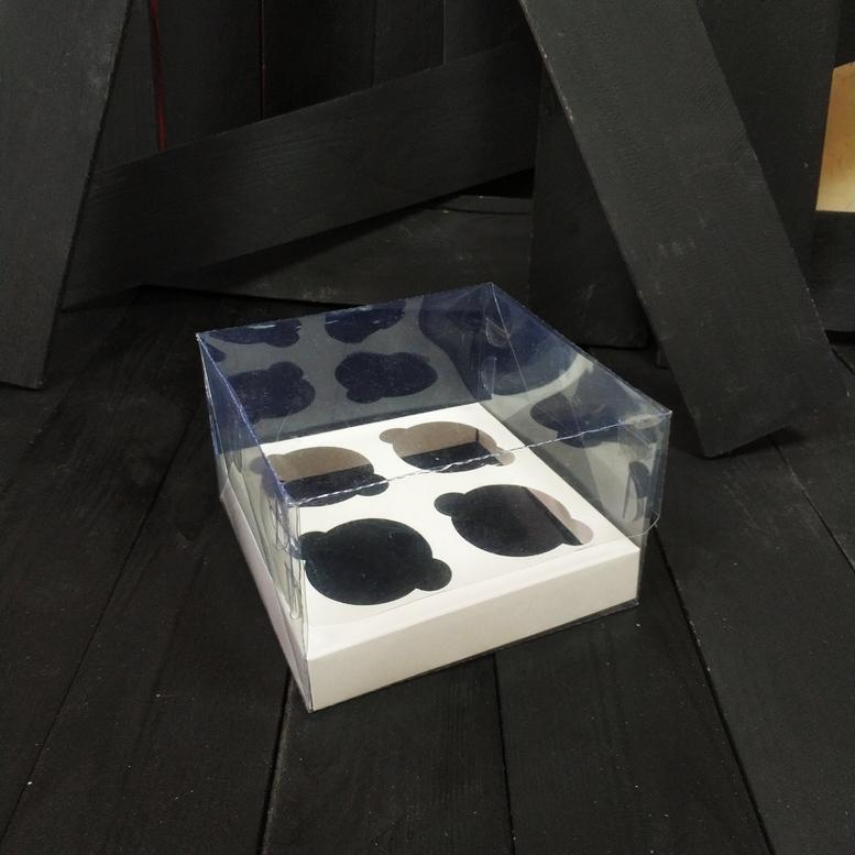 Коробка для 4-х кексов 175х175х110 прозрачная, уп-ка 10 шт. (ПЭТ)