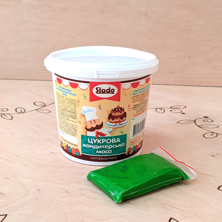 Цукрова паста-мастика Зелена універсальна, 100г, Slado
