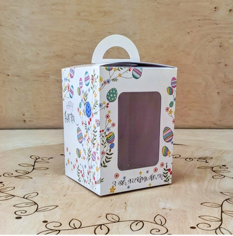 Коробка для паски 140х140х180 белая/принт, с окном (мел.к)