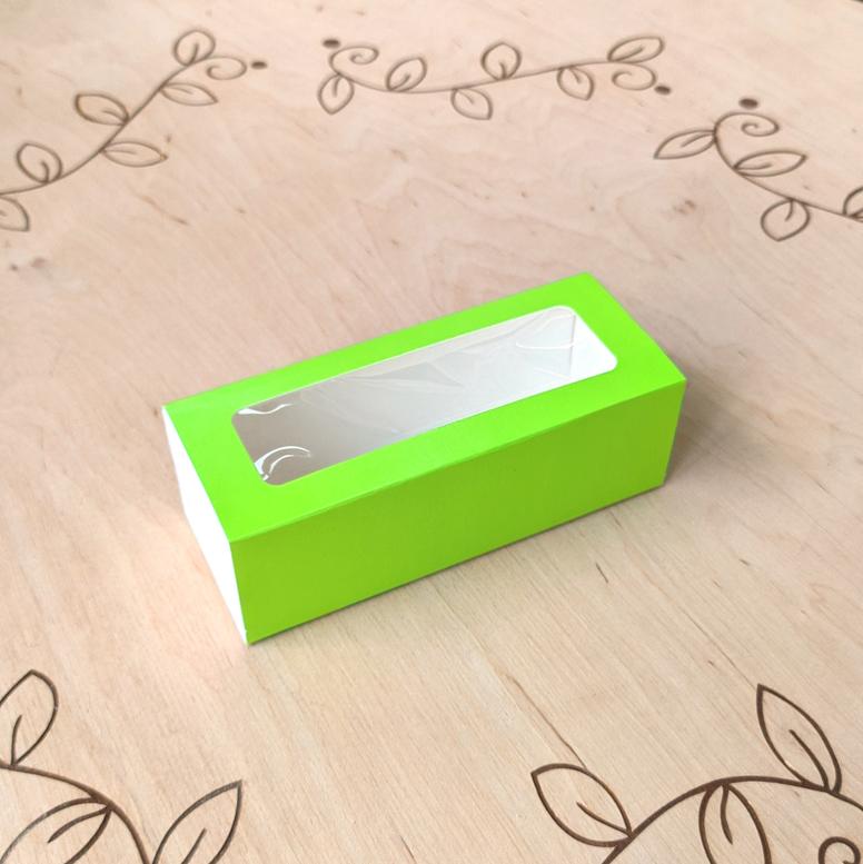 Коробка для 5 макаронс 140х55х45 с окном Салатовая