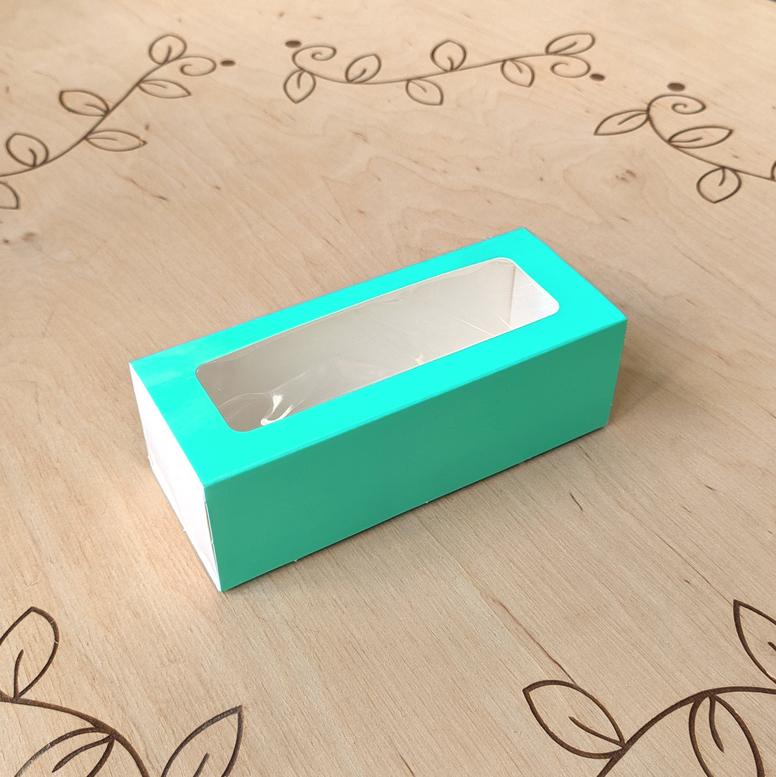 Коробка для 5 макаронс 140х55х45 с окном Бирюза